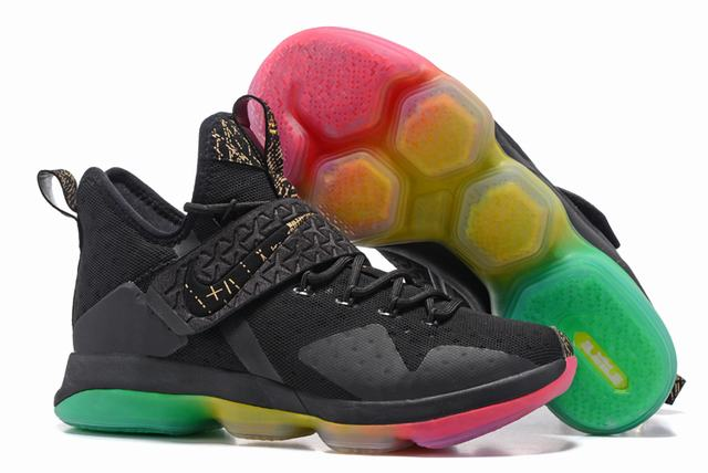Nike Lebron James 14 Shoes Black Rainbow